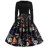 Dasongff Halloween Kostüm Damen Vintage Elegant Kleider Langarm Retro...